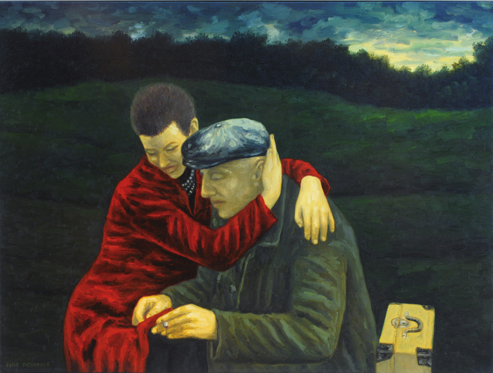 painting of ,an and woman hugging