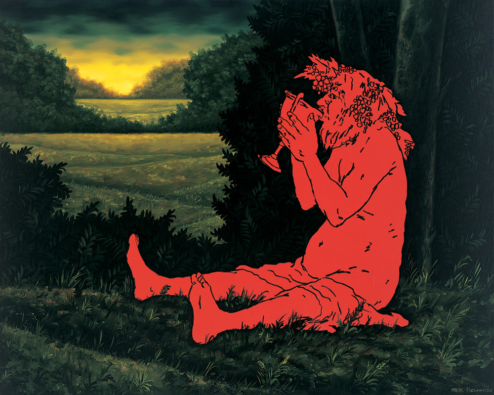 image of red man drinking