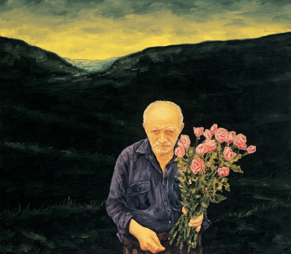 man holding flowers in nature twilight