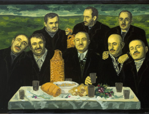 Men in suits, table with food