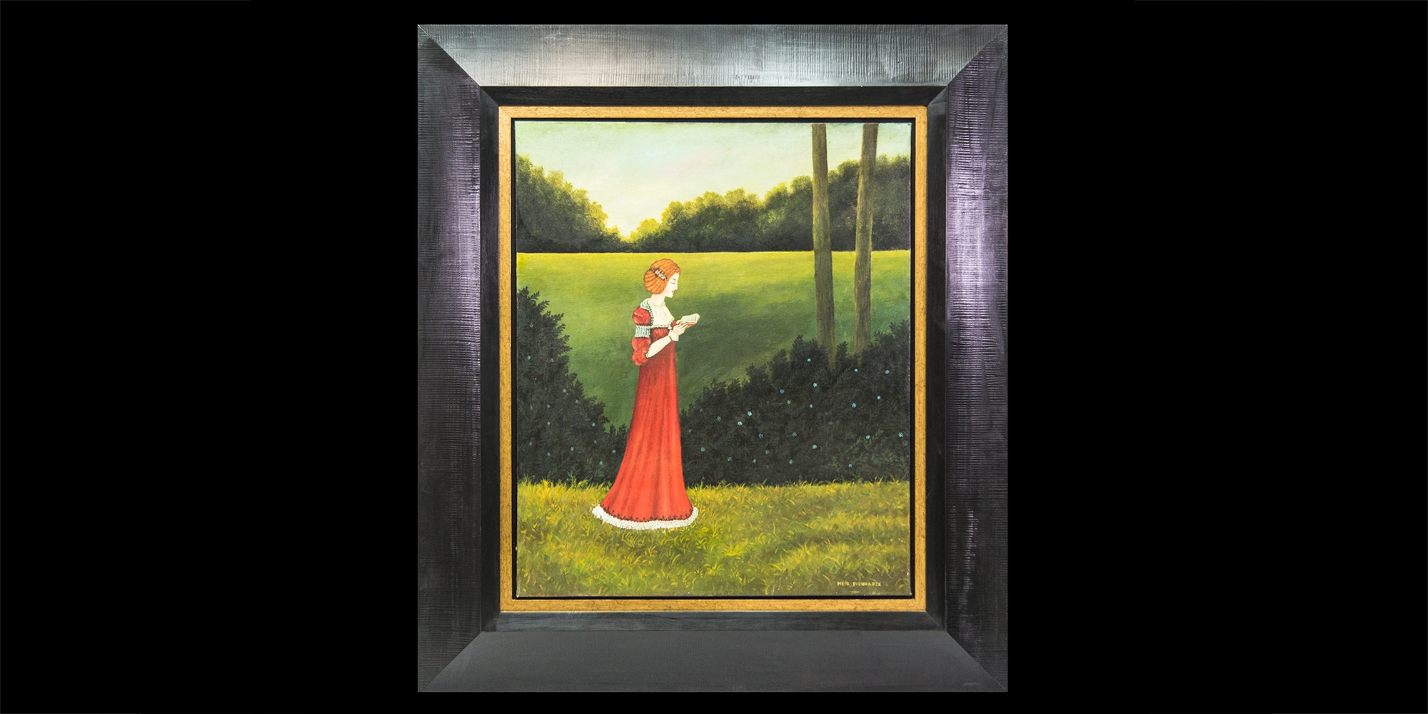 woman_red_dress_in field